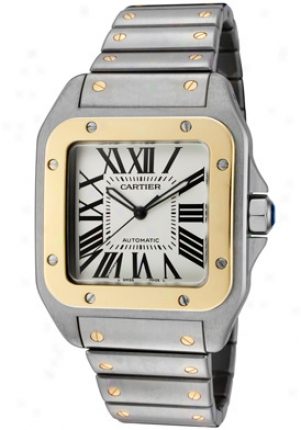 Cartier Men's Santos De Cartier Galbee Automatic 18k Yellow Gold And Stainless Steel W200728g