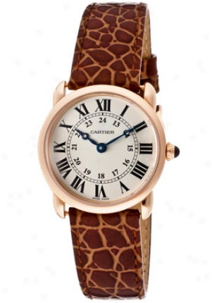 Cartier Women's Ronde Louis Cartier Silver Grained Dial 18k Rose Gold Case Light Brown Leather W6800151