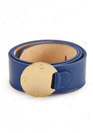 Cc Skye Blue Leather Belt Be-00007008-bl-m
