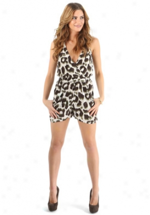 Chariie Jade Beige, Green & Black Short Romper On-c6026-cheetah-p