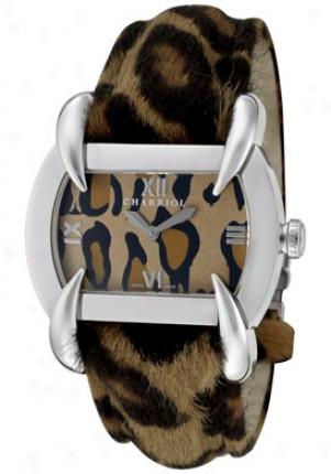 Charriol Women&0#39;s Leopard Print Dial Leopard Faux Fur &G enuine Leather Kut-80-2-24-kl02