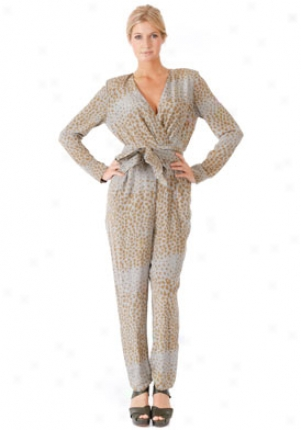 Chloe Beige Camel Leopard Print Jumpsuit On-19asl02-9a024-91-40