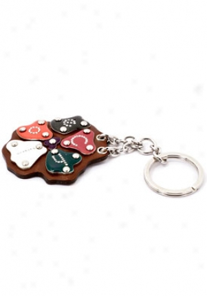 Chloe Multi-color And Brown Leather Logo Flower Keychain 8hpc40-8h701/999