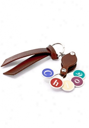 Chloe Multi-color Logo And Brown Leather Les Keychain 8apc33-8a606/183