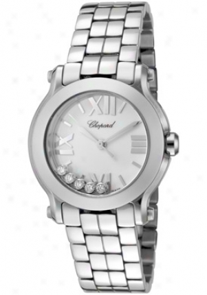 Chopard Women's Happy Sport White Diamond (0.15 Ctw) Pale Dial Stainless Steel 278509-3002