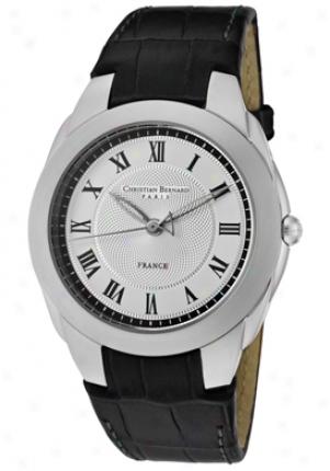 Christian Bernard Women's City Frivolous Silver Textured/white Dial Black Learher Wa2342be