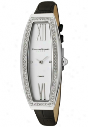 Christian Bernard Women's Fairy Light White Cubic Zirconia Of a ~ color Dial Black Leather Wa640zbd2