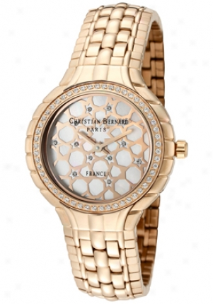 Inhabitant of Christendom Bernard Women'ss Golden White Cubic Zirconia Happy Mop Dial Rose Gold Tone Ss No368zwo5