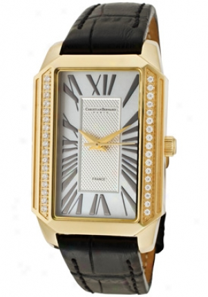 Christian Bernard Women's Heritage Cubic Zirconia Mop Dial Gold Tone Ip Case Black Leather Wt599zwe