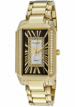 Christian Bernard Women's Heritage Cubic Zirconia White Mop/blzck Dial Gold Tone Stainless Steel Nt599znwm