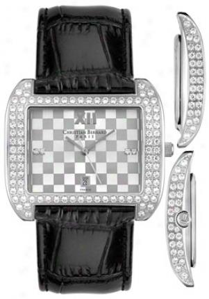 Christian Bernard Women's Intimate White Crystal Black Leather Xa359kad