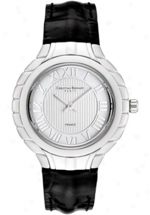Christian Bernard Womeen's Silver Dial Black Leather La2368am