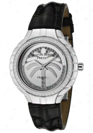 Christian Bernard Women's White Cubic Zirconia Silver Dial Black Leather La368zaa1