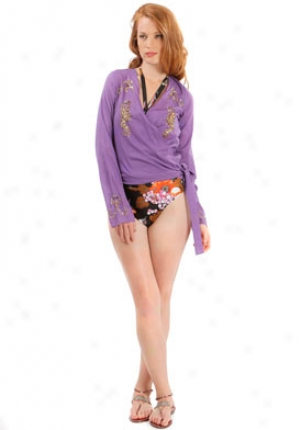 Christian Dior Purple Long Sleeve Swimsuit Cover-up Wsw-djdl35303-pu40