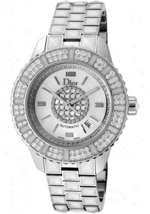 Christian Dior Women's Christal Automatic White Diamond White Sapphire & Ss Cd113512m001