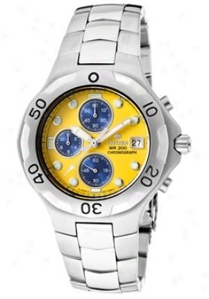 Citizen Men's Promaster Chronograph Yellow Dial Stainless Steel An0690-52y