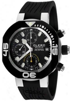 Clerc Men's Cxc Svuba 250 Self-moving Chronograph Black Rubber Cxxle250b-s0blk