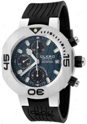 Clerc Men's Cxx Scuba 250 Automatic Chronograph Azure Textured Dial Black Rubber Cxxle250-s1blue