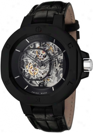 Clerc Men's Icon 8 Automatic Skeletonized See Thru Silver Dial Black Genuihe Crocodile I8ska12-blkst