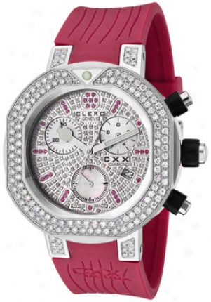 Clerc Women's Cxx Scuba 2.94 Cttw White Diamonds And 0.42 Cttw Red Rubiees Magenta Rubber Cxxdsp1