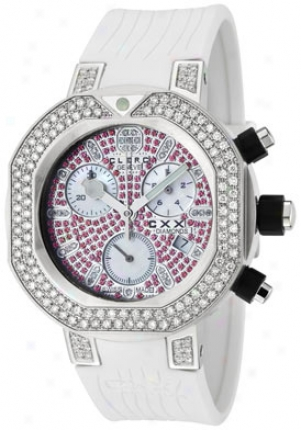 Clerc Women's Cxx Scuba Chronograph Diamond White Rubber Cxxdsp3