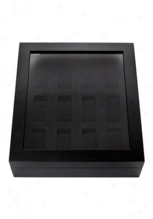 Collectors 12 Slot Black Watch Box 10012-blk