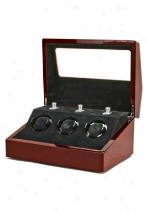Collectors Multi-function Mahogany 3 Slot Watch Winder Ww-1004-p1-08