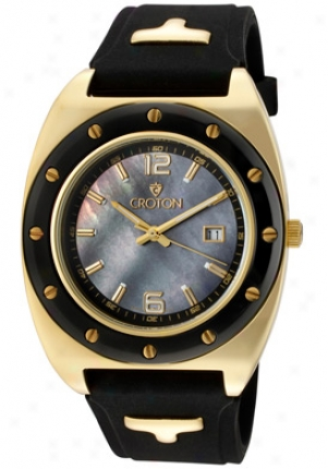 Croton Men's Advocate Mother Of Pearl, Black Strap Ca3012214bsyl
