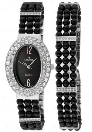 Croton Women's Black Agate Beads Set Cn207043bamp