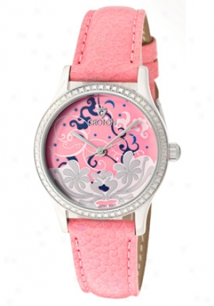 Croton Women's Tropics Flowers And Clouds Leather Strap Cn207317pkpk