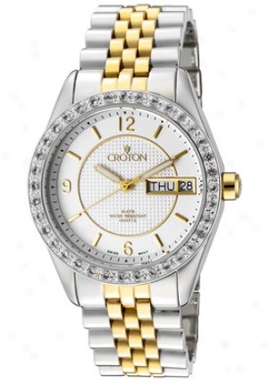 Croton Women's Two Sound Stainless Steel, Topaz 36 Stones, 0.72 Cts On Bezel Cn207279ttsl