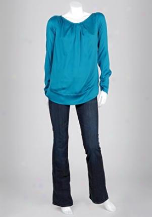 Diane Von Furstenberg Turquoise Long Sleeve Satin Blouse Wtp-s8407602t9-turq-8