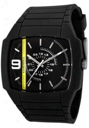 Diesel Men's Black Dial Black Silicone Dz1322