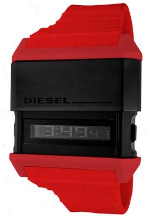 Diesel Men's Black Digital Black Dial Red Rubber Dz7198