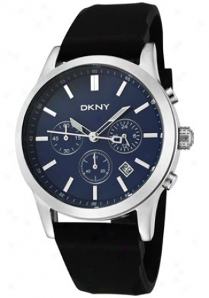 Dkny Men's Chronograph Blue Dial Black Rubber Ny1467