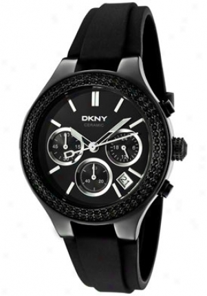 Dkny Women's Chronograph Black Crystal Black Dial Black Rubbdr Ny8186