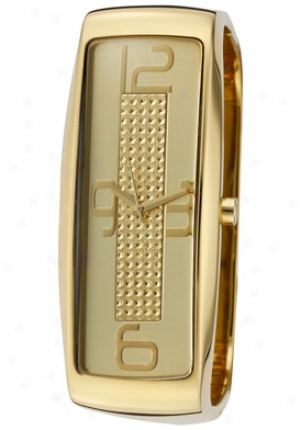 Dolce & Gabbana Women's Intelligence Gold Dial Gold Temper Ion Plated Stainless Steel Square Bangle Dw0234