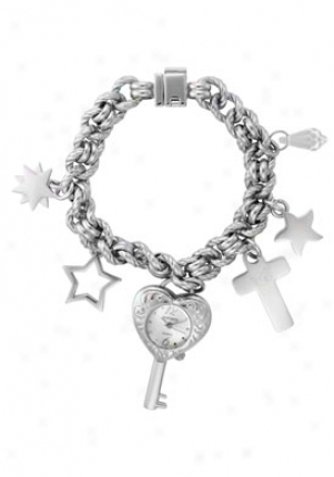 Dufonte Women's Precious Silver Tsxtured Dial Silvery Tone Base Metal Ribbed Rolo Link Bracelet 73040charm