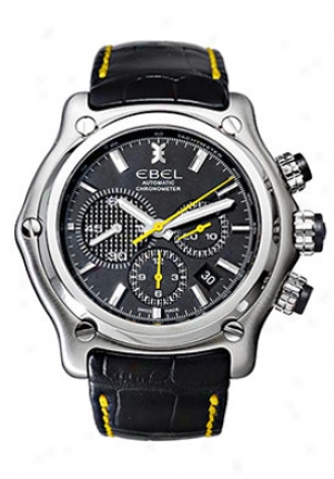 Ebel 1911 Btr (back To Roots) Mens' Automatic Chronograph Stainless Steel Black Dial On Black Leather Strap 9137l2/5335145ys