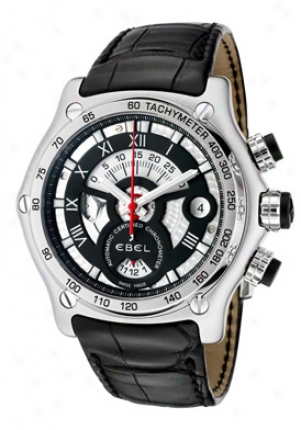 Ebel 1911 Btr (back To Roots) Mens' Automatic Chronograph Stainless Steel Black Dial On Black Leather Strap 9139l72/5135145