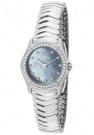 Ebel Women's (mini) Elegant Wave White Diamond Stainless Steel 9003f14/99825