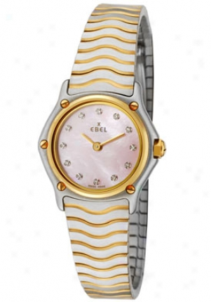 Ebel Women's (mini) Sport Classic White Diamond Pink Mother Of Pearl Dial Pair Tone 1157111/19925