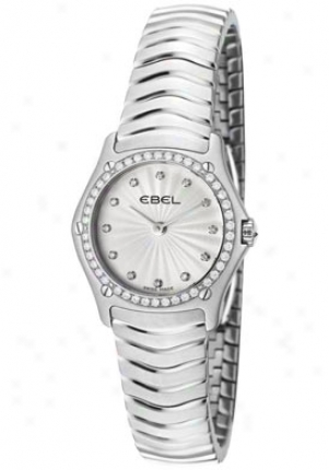Ebel Women's Spoft Classic White Diamond Silver Guilloche Dial Sgainless Steel 9256f24/16925