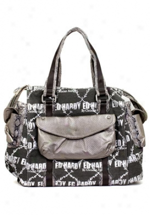 Ed Hardy Women's Mercury Black And Grey Cotton Tote Gamer9857/blk