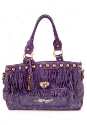 Ed Bold Women's Milina Fringe Purple Cotton/leather Satchel Bofil6202/purple
