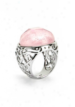 Elenna Mellinni Silver Tone Pink Glass Ring Emrs301pk-6