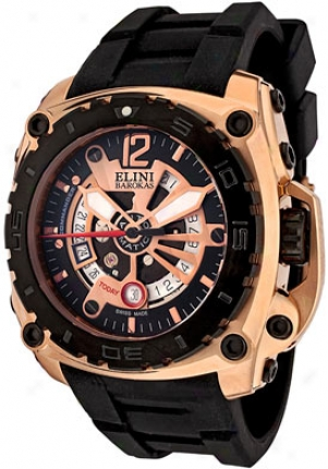Elini Men's Commander Swiss language Made Automatic Black Silicone Bk308111-10rgip