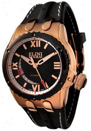 Elini Men's Genesis Vision Automatic Ceramic & Black Silicone Bk102521srb-3rgipbk
