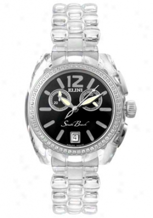 Elini Men's Sough Beach Chronograph Diamond Translucent Polycarbonate Bk2616slvpcb
