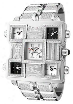 Elini Men's Square World Automatic White Diamond (7.00 Ctw) White Dial Stainless Steel 2706f
